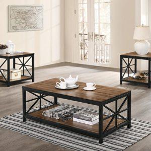 میز جلو مبلی چوب و فلز