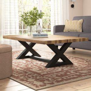میز جلو مبلی فلزی و رویه چوبی