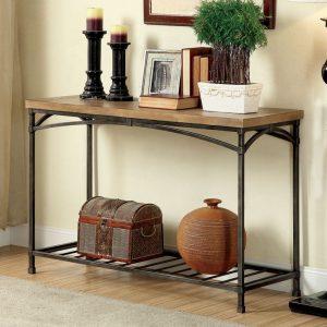 میز کنسول مدرن فلزی - طرح بدنه ترکیبی از شکل های منحنی از فلز زیبایی خاصی به ای میز داده است - جنس رویه از چوب یا ام دی اف می باشد - این میز کنسول جزء طراحی های مدرن می باشد .